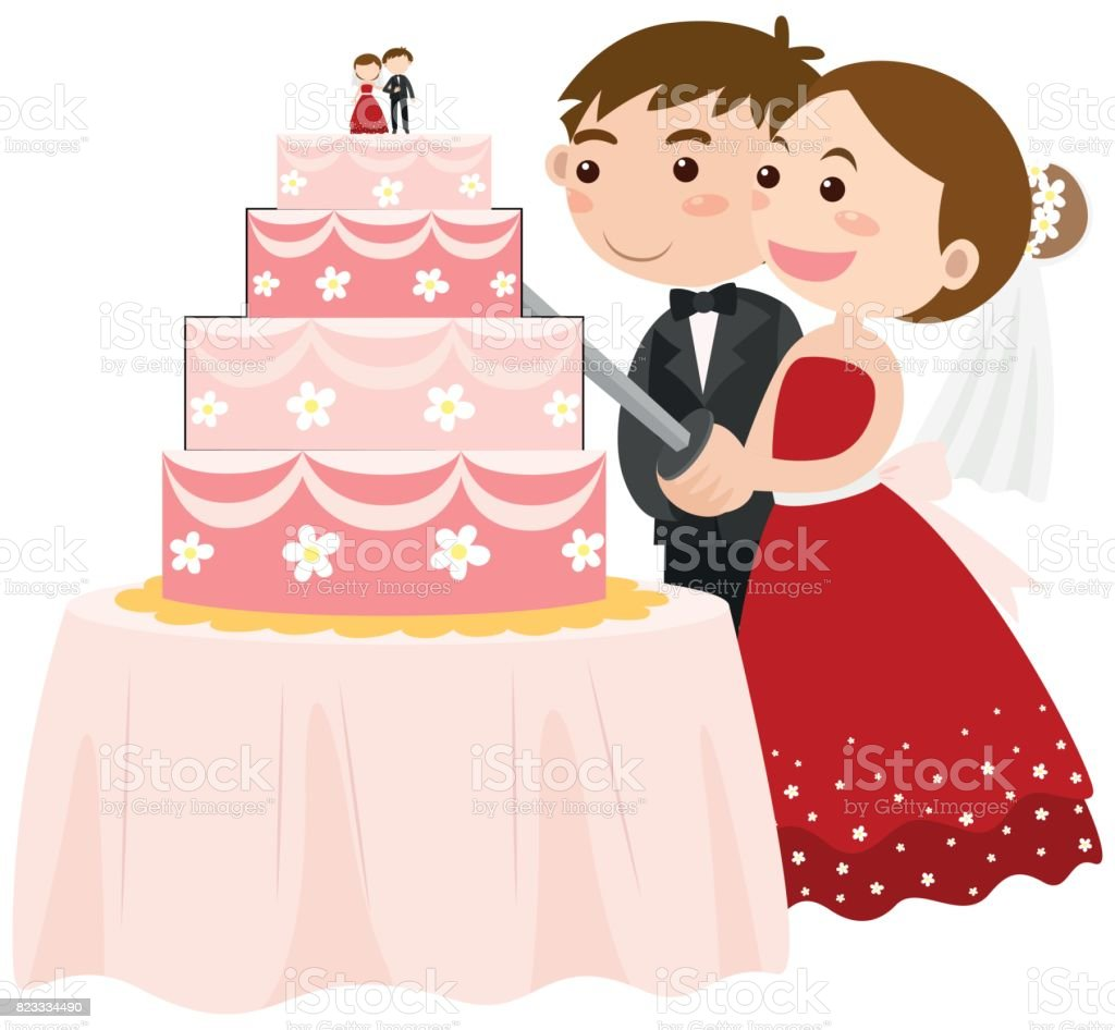 Bride And Groom Cutting Wedding Cake Stock Vector Art & More Images ...