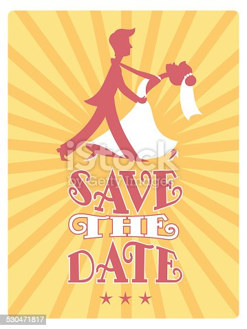 istock Bride and Groom dancing Save the Date card. 530471817