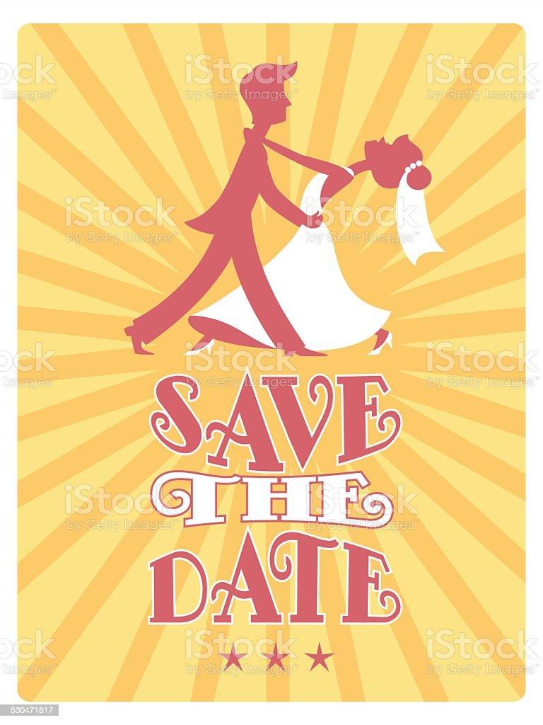 Bride and Groom dancing Save the Date card. vector art illustration
