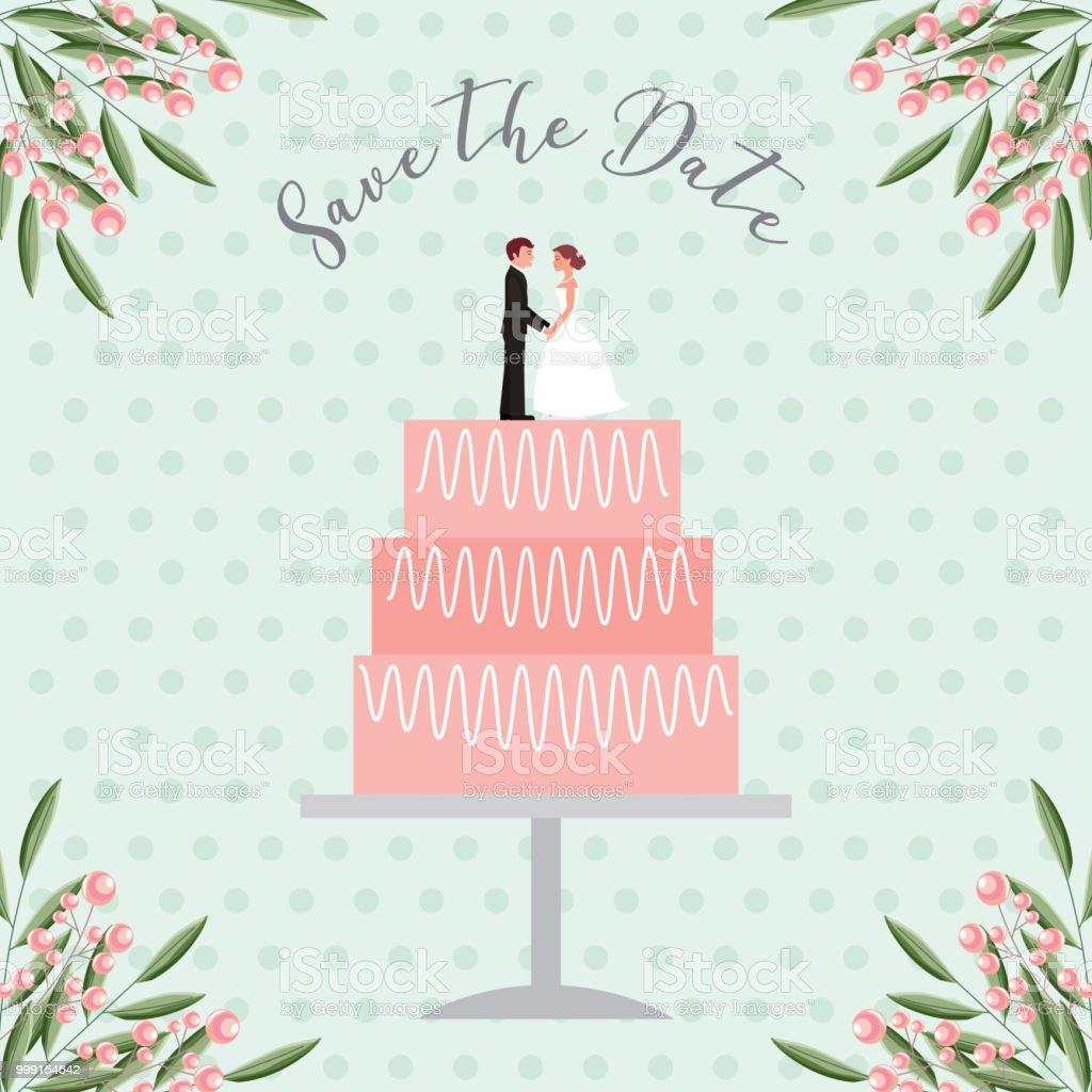 noivos bonecos de bolo de casamento salvar o cartão de data - ilustração de arte em vetor