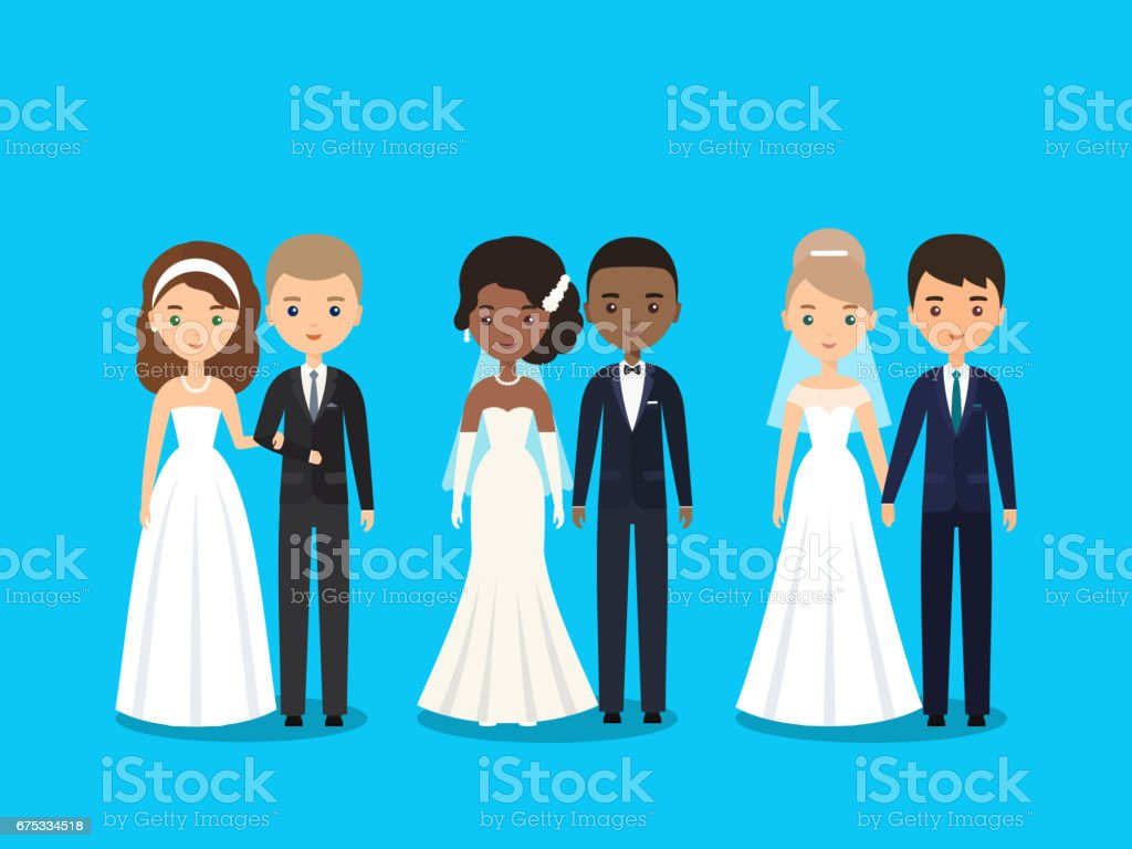 Bride and groom flat characters. Vector illustration. vector art illustration