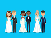 Bride and groom flat characters. Vector illustration.