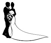 Bride and Groom Flowers Wedding Silhouette