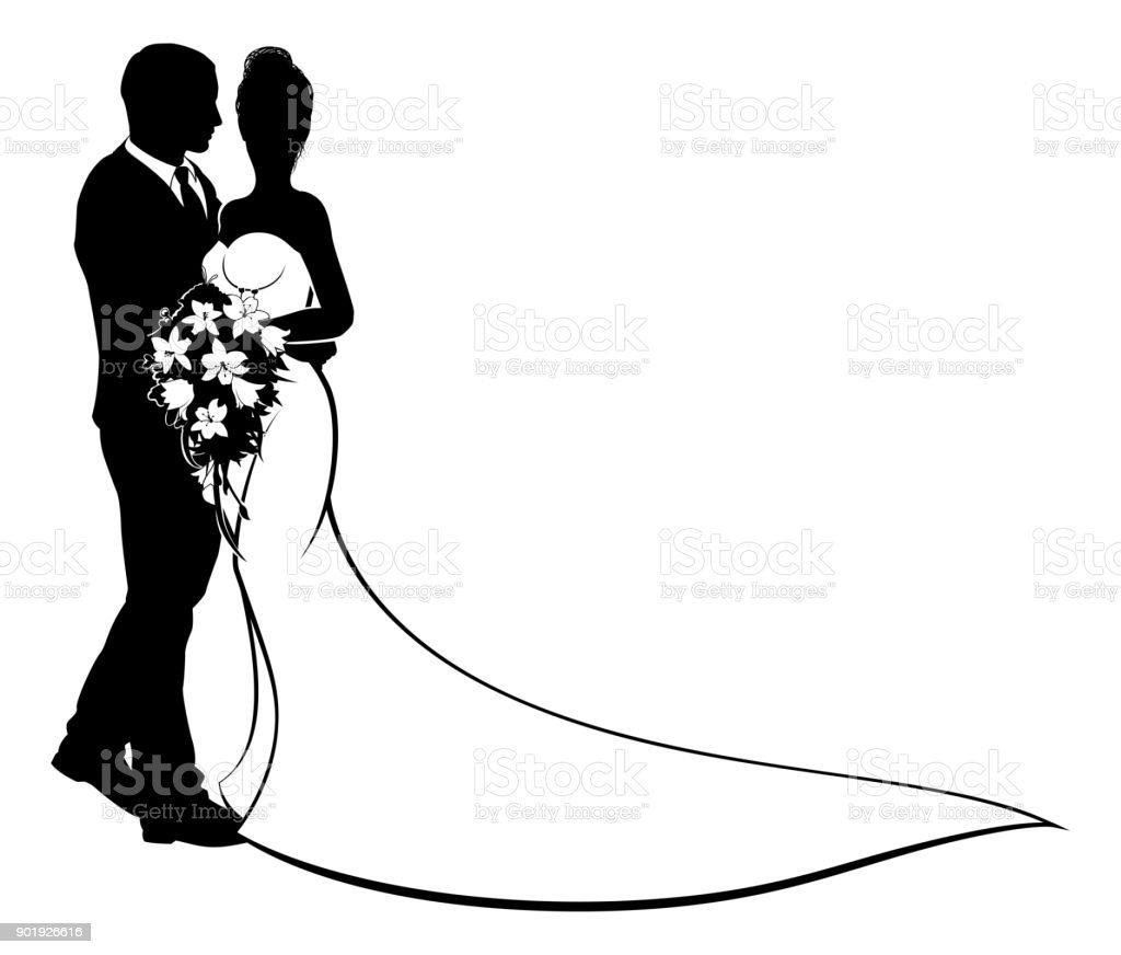Bride and Groom Flowers Wedding Silhouette vector art illustration