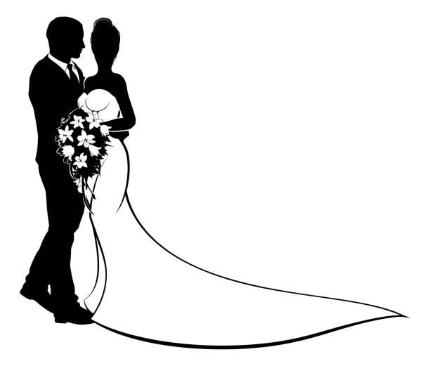 Bride and Groom Flowers Wedding Silhouette vector art illustration