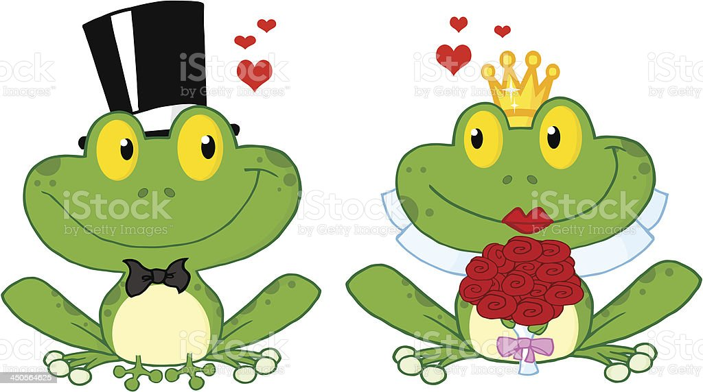Bride and Groom Frogs royalty-free stock vector art
