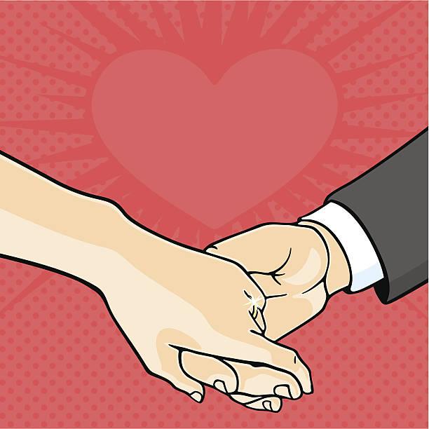 illustrazioni stock, clip art, cartoni animati e icone di tendenza di sposa e lo sposo mani - mano donna dita unite