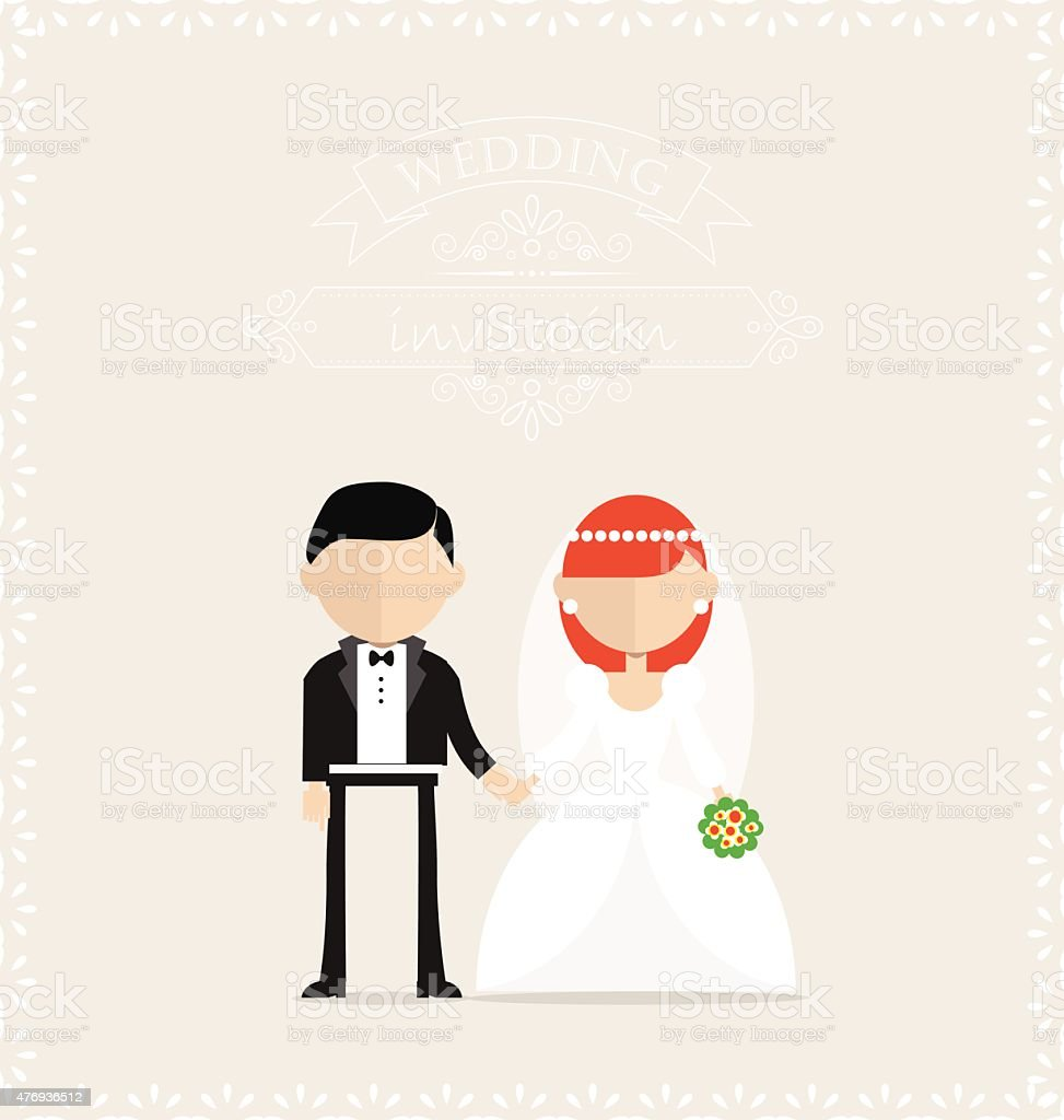 Bride And Groom Holding Hands On The Wedding Invitation Card stock ...