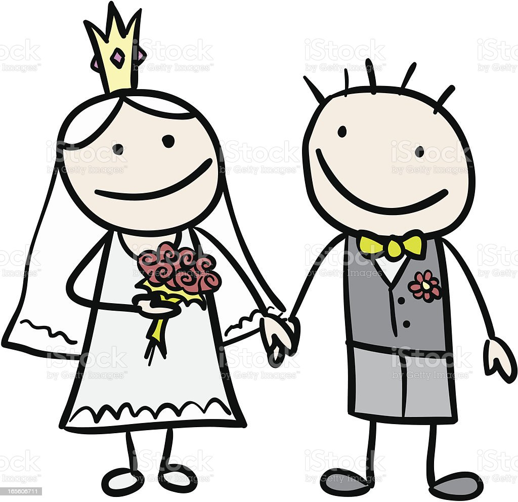 Bride and Groom holding hands royalty-free stock vector art