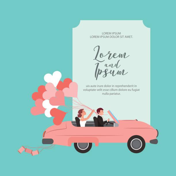 braut und bräutigam in cabrio mit luftballons hochzeit karte - hochzeitspaare stock-grafiken, -clipart, -cartoons und -symbole