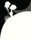 The silhouettes of a bride and groom facing each other. They can be used separately. The bouquet and veil can be easily removed in Ai