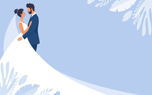 Bride and groom in wedding dresses, wedding banner with copy space and blue background. Mockup for wedding invitation, romantic vector illustration in flat design.