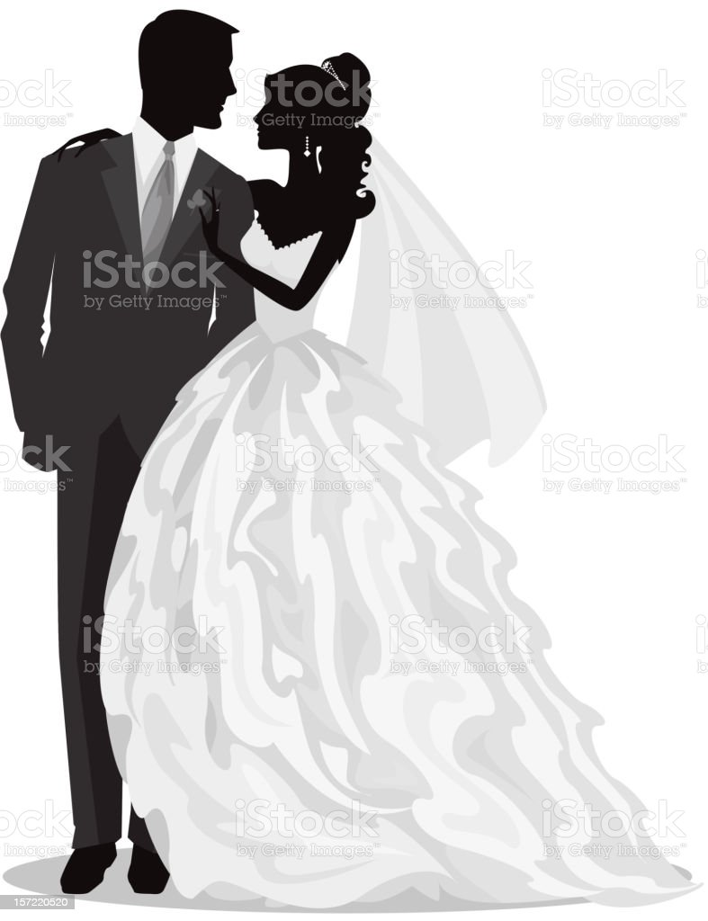 Bride And Groom Just Married Silhouette Stock Vector Art ...