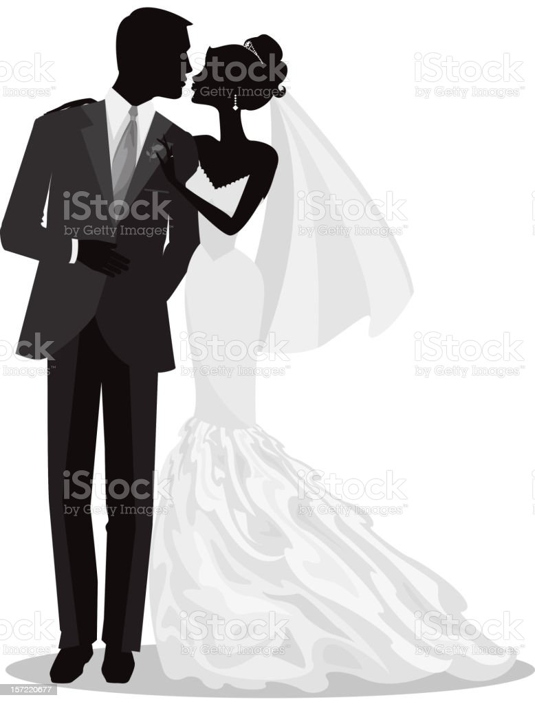 Bride and Groom Just Married Silhouette vector art illustration