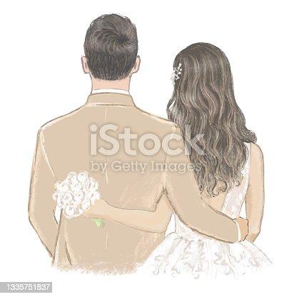 istock Bride and Groom on Wedding day hand drawn Illustration 1335751837