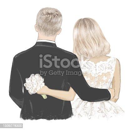 istock Bride and Groom on Wedding day hand drawn Illustration 1339278300