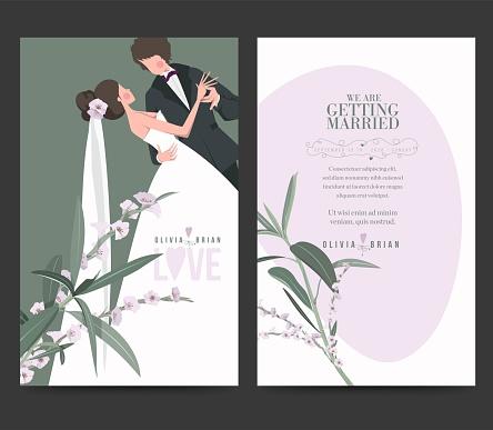 Bride and groom, roses, wedding invitation card design