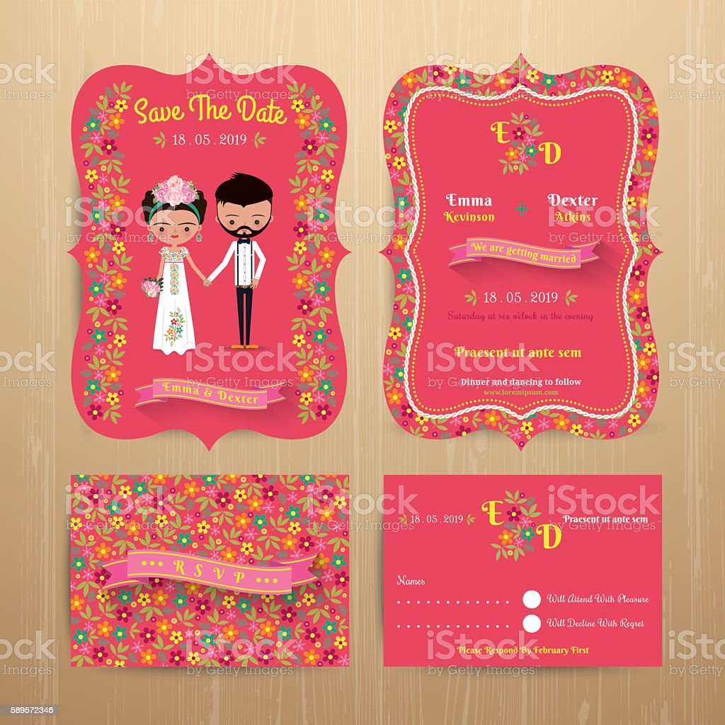 Bride and groom rustic floral wedding invitation card vector art illustration
