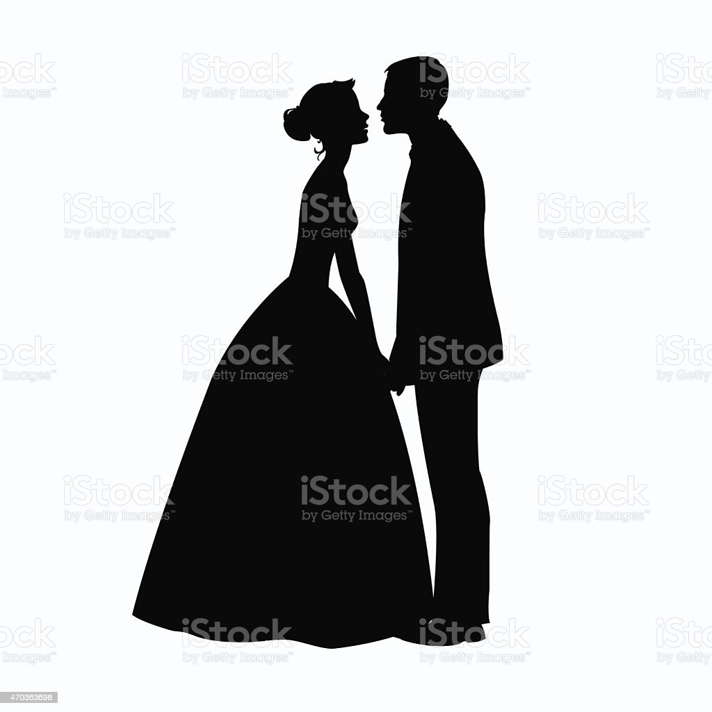 Bride and Groom Silhouette - Illustration vector art illustration