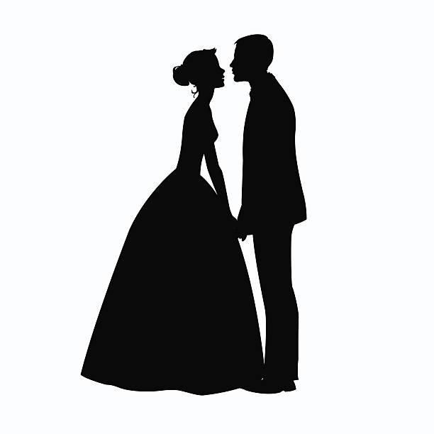 braut und bräutigam silhouette-illustration - hochzeitspaare stock-grafiken, -clipart, -cartoons und -symbole