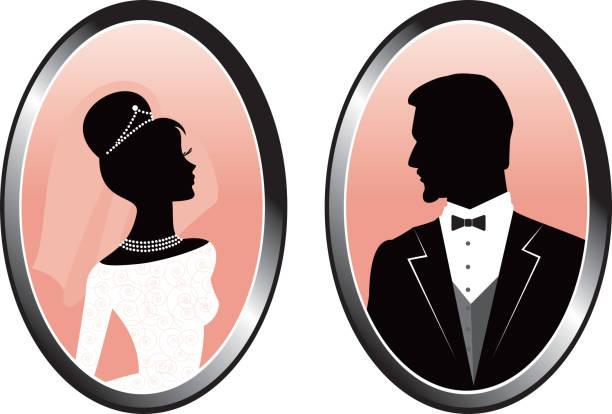 braut und bräutigam silhouette in cameos - hochzeitsanstecker stock-grafiken, -clipart, -cartoons und -symbole