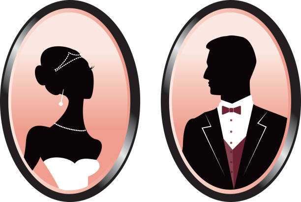 Bride and Groom Silhouette in Cameos vector art illustration