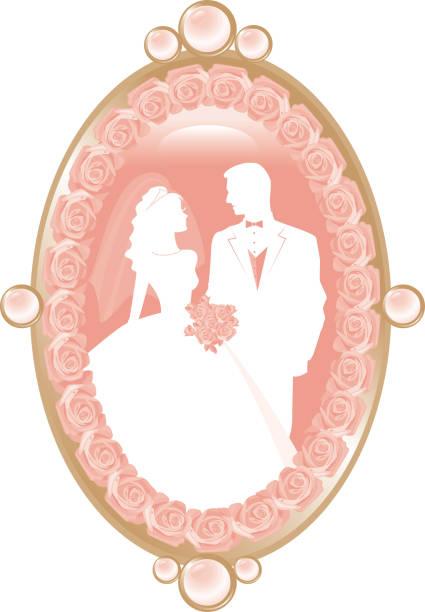 braut und bräutigam silhouette in pink kamee - hochzeitsanstecker stock-grafiken, -clipart, -cartoons und -symbole
