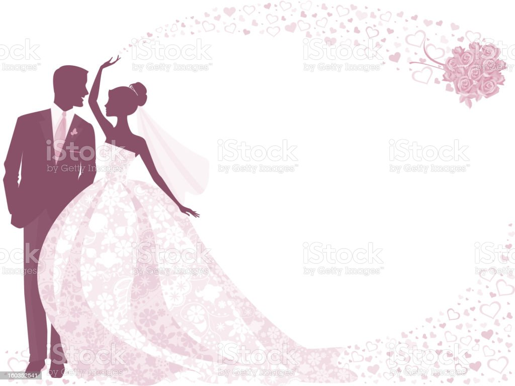 Bride and Groom Silhouette in Purple with Rose Bouquet royalty-free bride and groom silhouette in purple with rose bouquet stock vector art & more images of adult