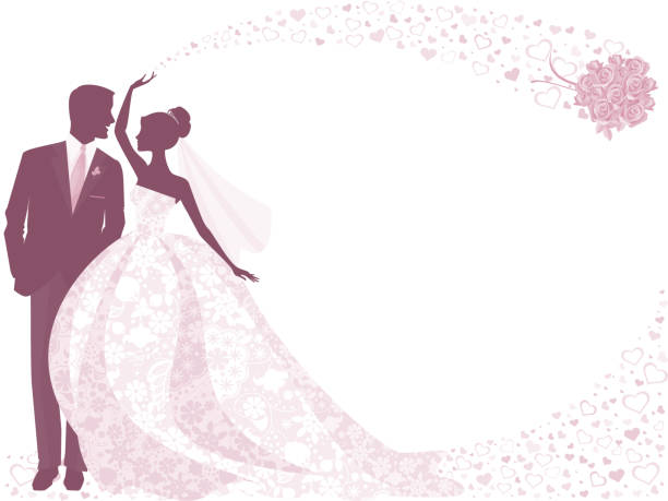braut und bräutigam silhouette in lila bouquet mit rose - rosenhochzeitskleider stock-grafiken, -clipart, -cartoons und -symbole