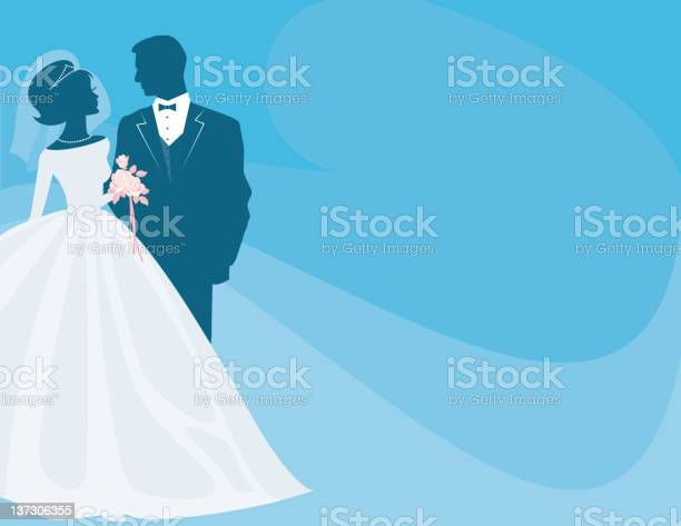 Bride and groom silhouette on blue with pink rose bouquet vector id137306355?b=1&k=6&m=137306355&s=612x612&h=puixntv2zcuya4juse2dve snu enbixhig0rpmc9ja=