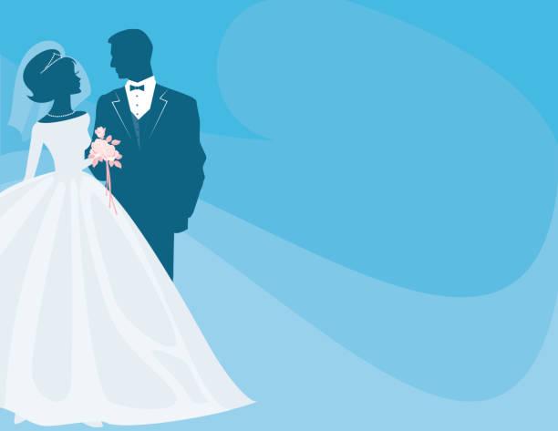 braut und bräutigam silhouette auf blau mit rosa rose bouquet - perlenstrauß stock-grafiken, -clipart, -cartoons und -symbole
