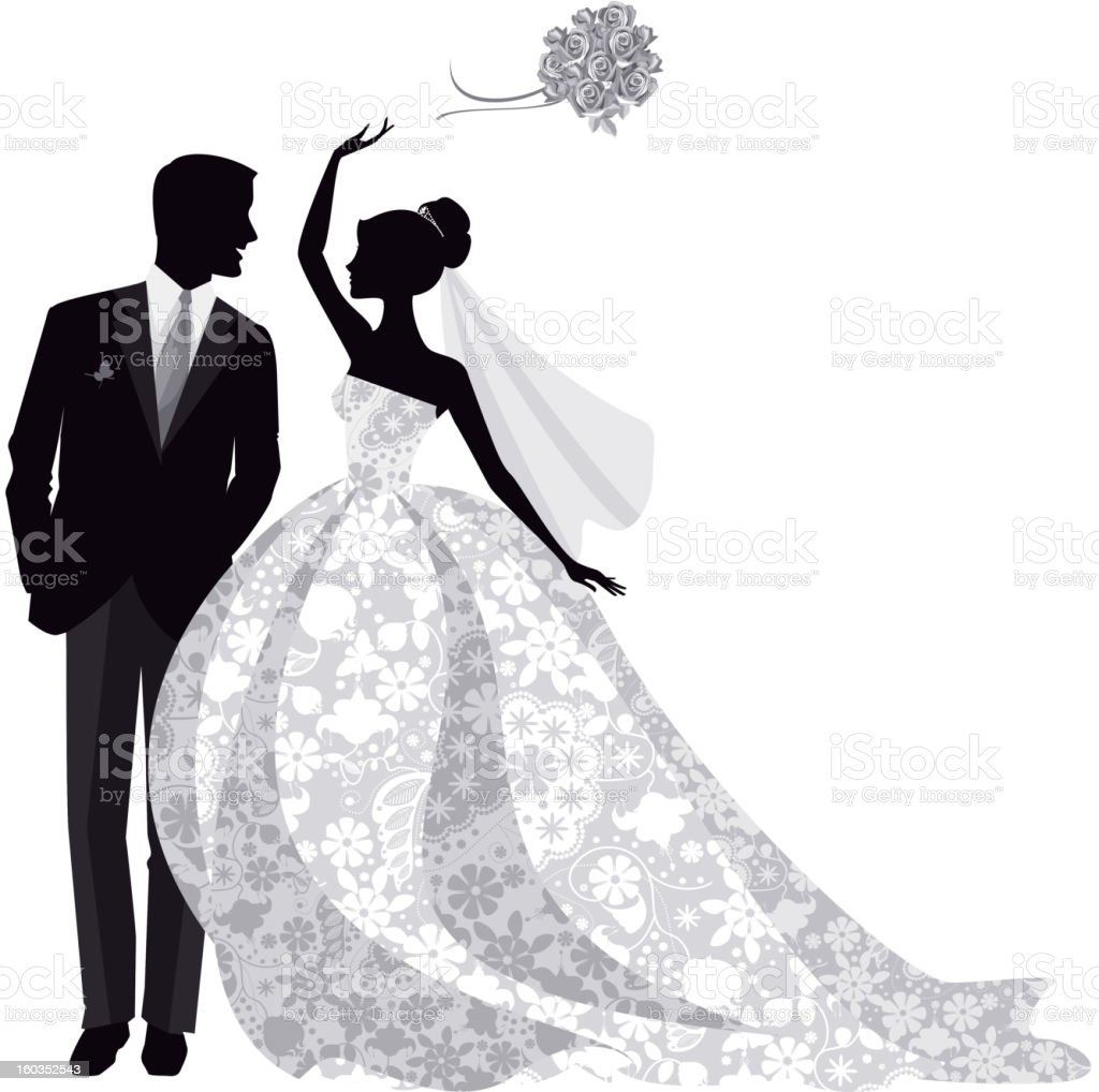 Bride and Groom Silhouette vector art illustration