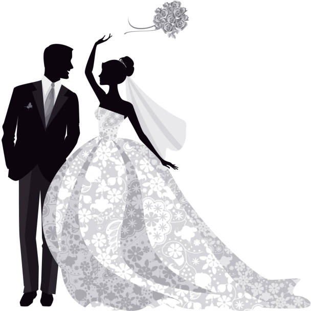 Bride and Groom Silhouette Beautiful bride and Groom Just married! Bride is wearing beautiful lace gown. This illustration is black and white and uses no gradients. bridegroom stock illustrations