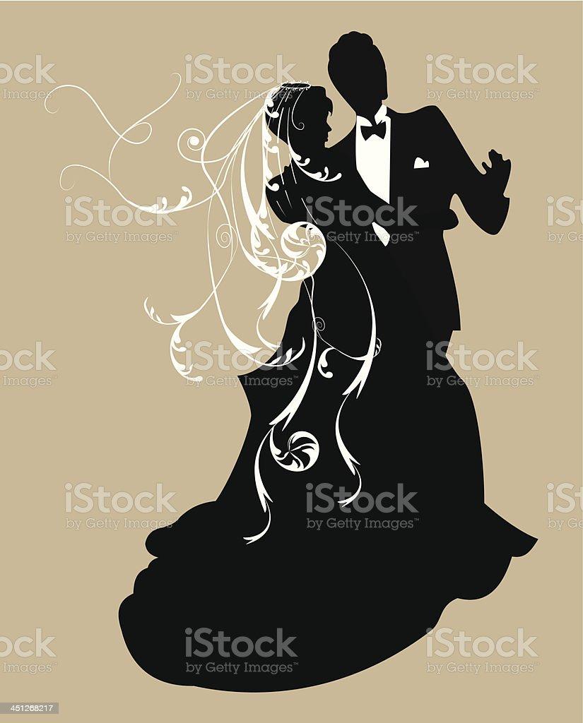 Bride and groom silhouette vector art illustration