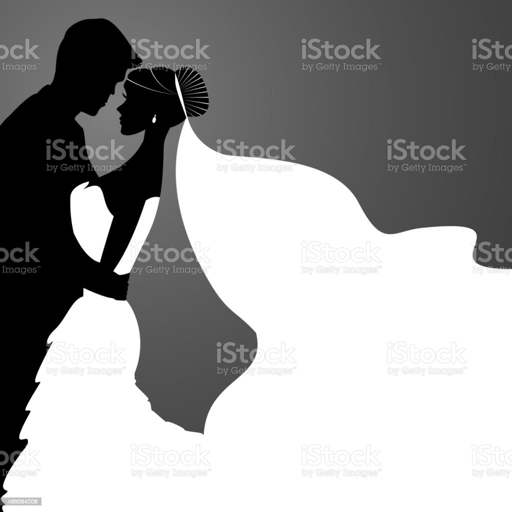Bride And Groom Silhouette Wedding vector art illustration