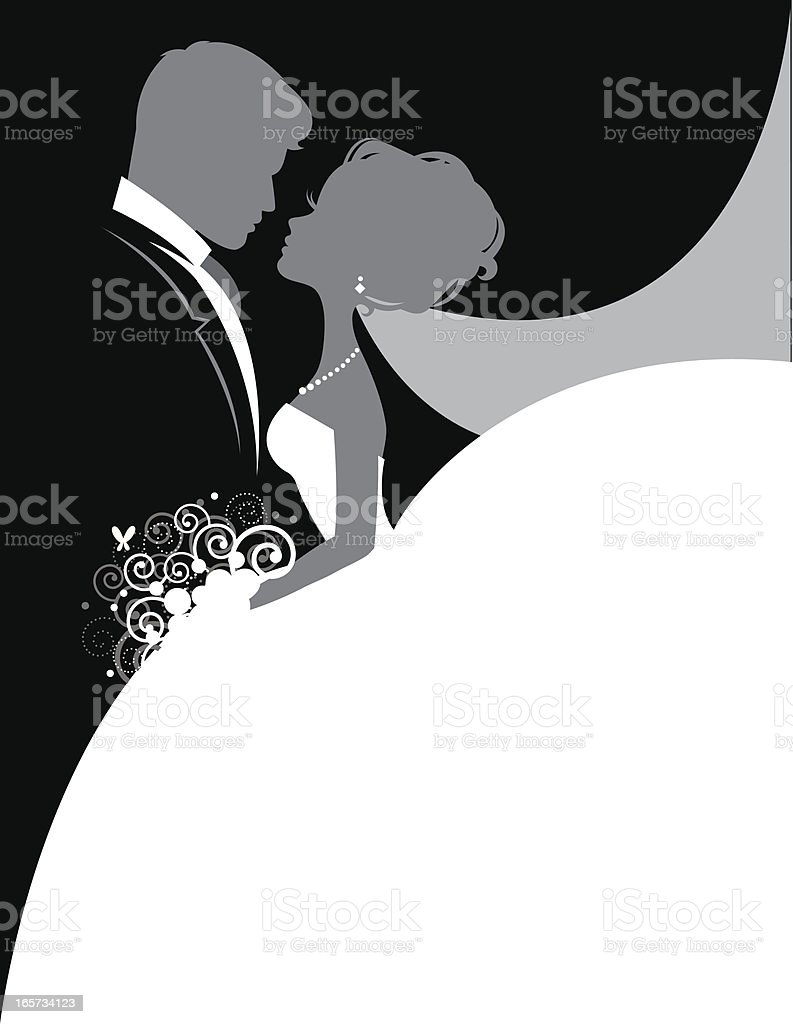 Bride and Groom So In Love The silhouettes of a bride and groom facing each other and looking romantically into each others eyes. Bride's dress is perfect as writing space. Bride and groom can be used separately with Ai. Perfect for invitations. Adult stock vector
