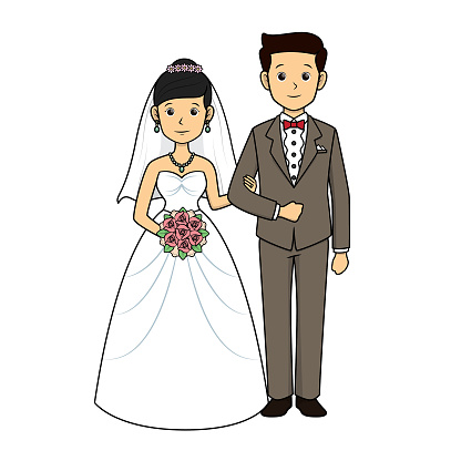 Bride and groom standing on the wedding dress Bride holding flowers Wore the groom's arms Standing portrait photography in a white background For assembly Or create teaching material for mothers who do Homeschool and teachers.