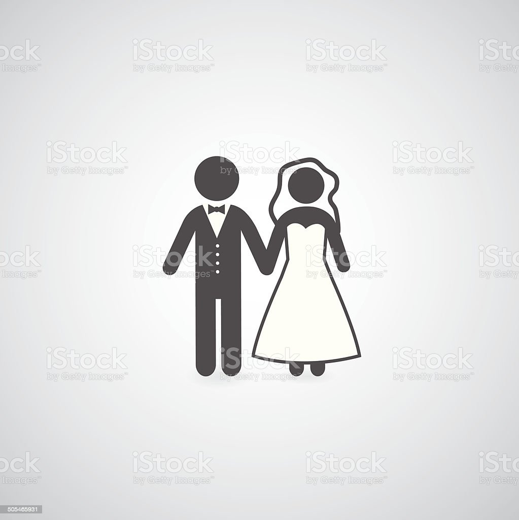bride and groom symbol vector art illustration