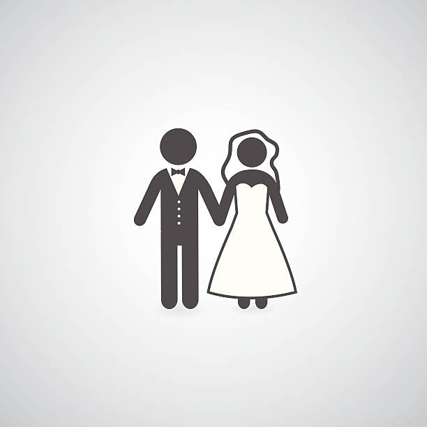 bride and groom symbol bride and groom symbol on gray background bridegroom stock illustrations