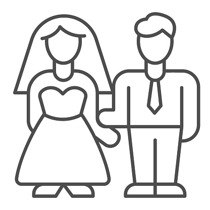 Bride and groom thin line icon, valentine day concept, wedding couple sign on white background, lovers get married icon in outline style for mobile concept and web design. Vector graphics.