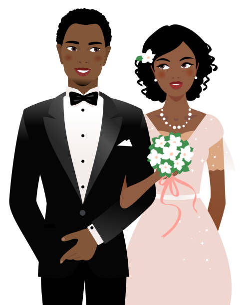 Wedding Hair Style Black Vector Art: Best African American Wedding Illustrations, Royalty-Free