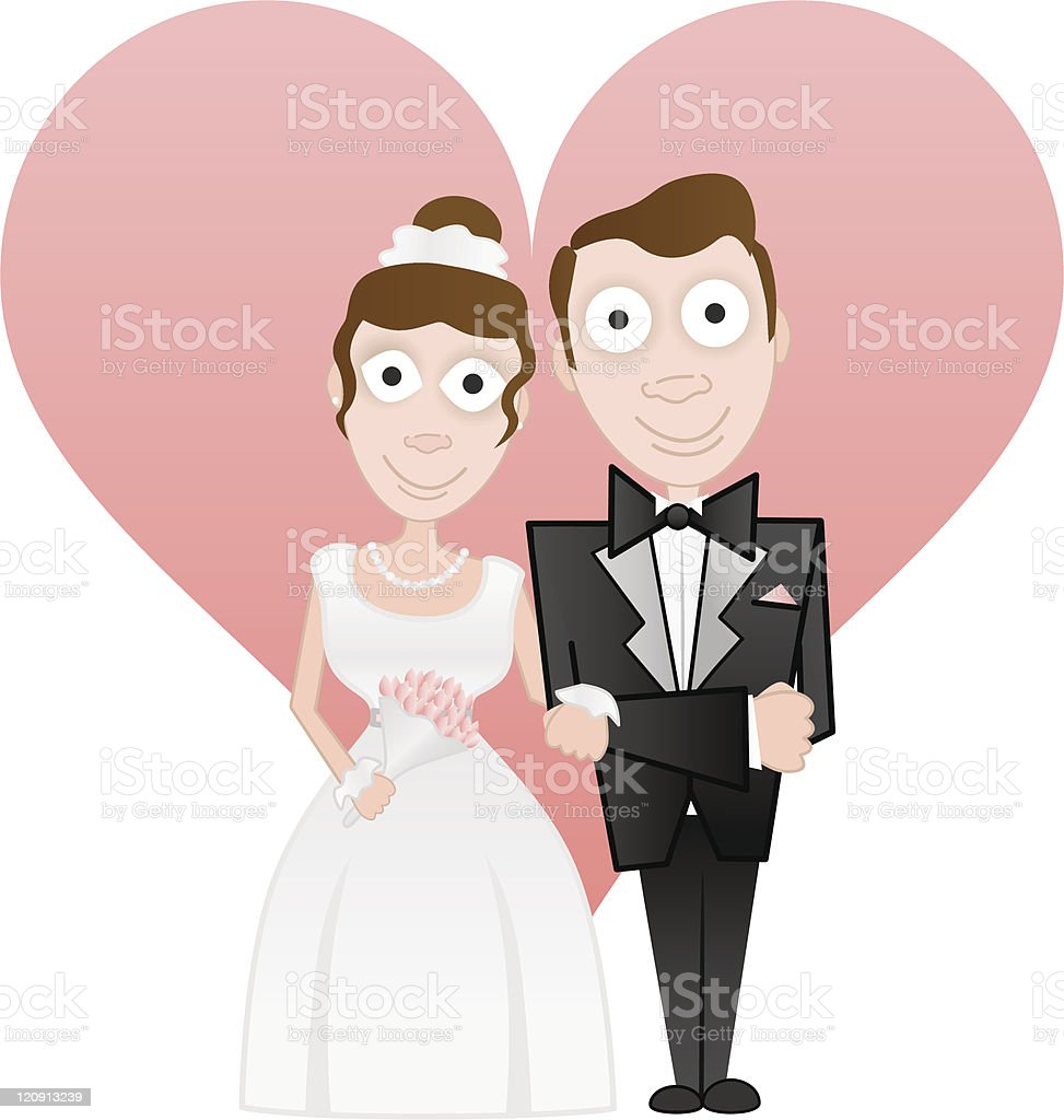 bride and groom royalty-free stock vector art