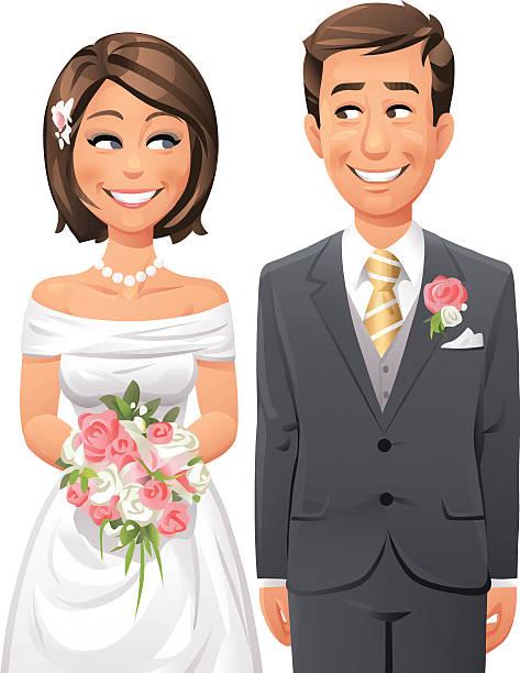 illustrazioni stock, clip art, cartoni animati e icone di tendenza di sposa e lo sposo - couple portrait caucasian