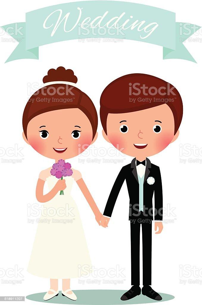 Bride and groom vector art illustration