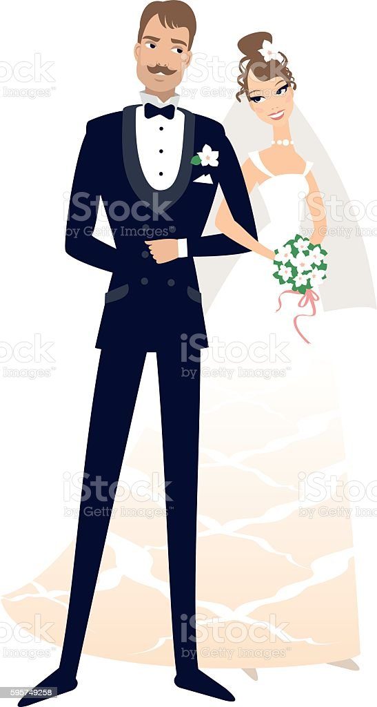 Bride and groom vector art illustration