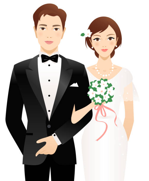 Bride and groom Young married couple. Isolated on a white background. bridegroom stock illustrations