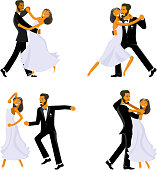 Happy young bride and groom are dance on their wedding day. Concept for the studio, wedding dance lessons. Vector illustration eps 10