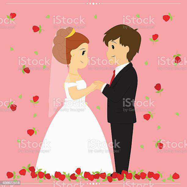 Bride and groom vector illustration surrounded by falling red roses vector id636672518?b=1&k=6&m=636672518&s=612x612&h=bk kj4a0ejvava1um2sjlqbobely6qiumxrzuexxya0=