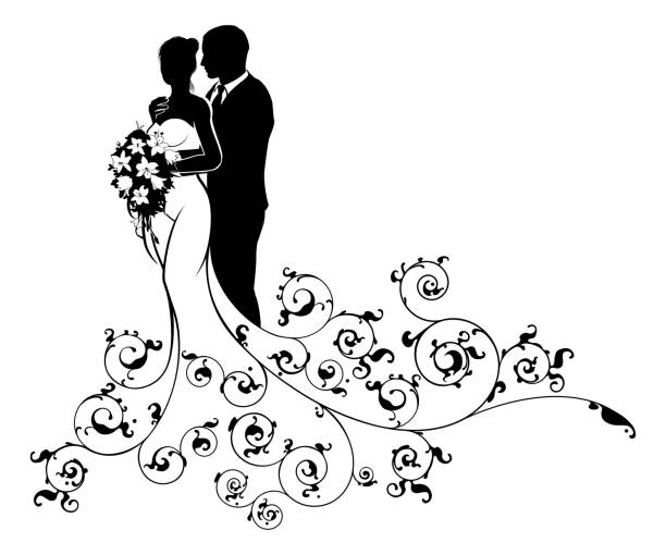 Bride and Groom Wedding Bridal Dress Silhouette A bride and groom wedding couple in silhouette, in a white bridal dress gown holding a floral bouquet of flowers with an abstract floral pattern design young couple stock illustrations