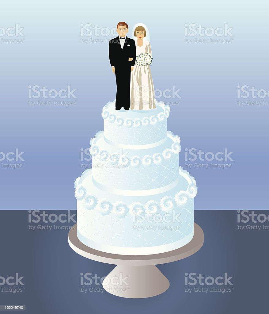 Bride and Groom Wedding Cake vector art illustration